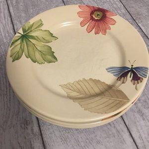 """Longaberger Botanical Fields 9"""" plates set of 4"""